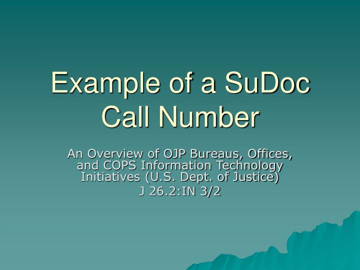 Example of a SuDoc Call Number