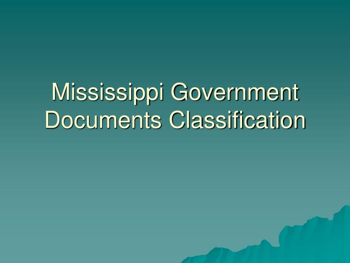 Mississippi Government Documents Classification