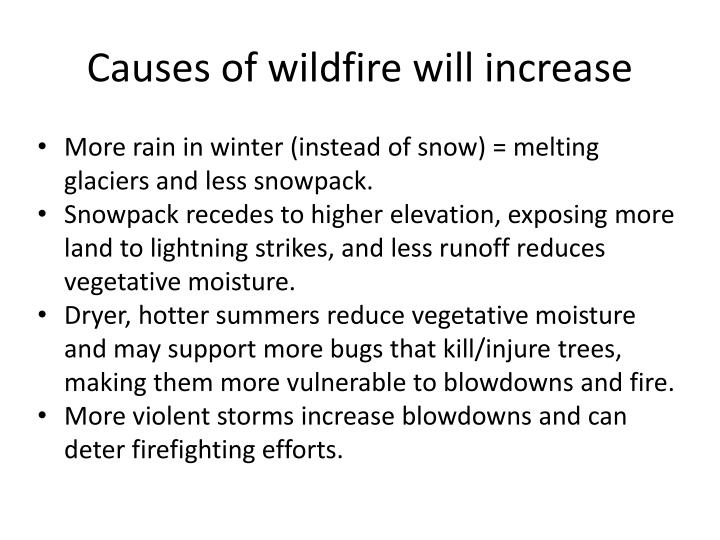 Causes of wildfire will increase