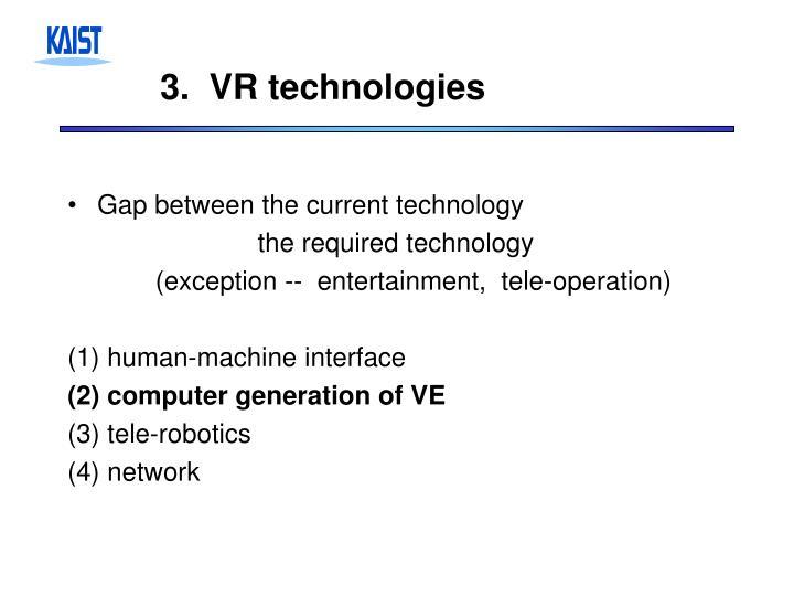 3.  VR technologies