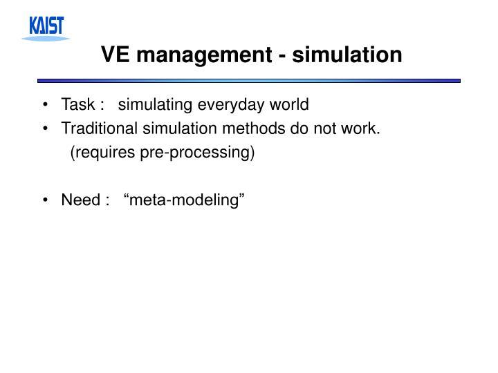 VE management - simulation