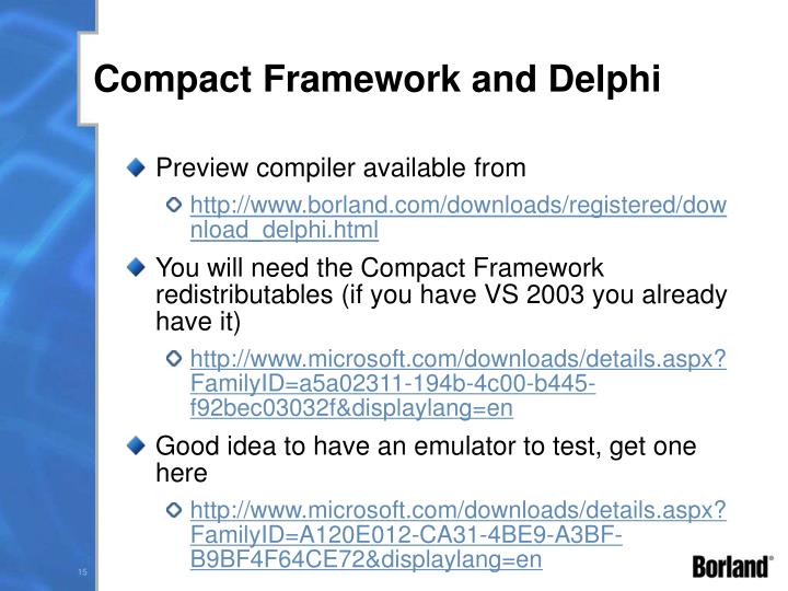Compact Framework and Delphi