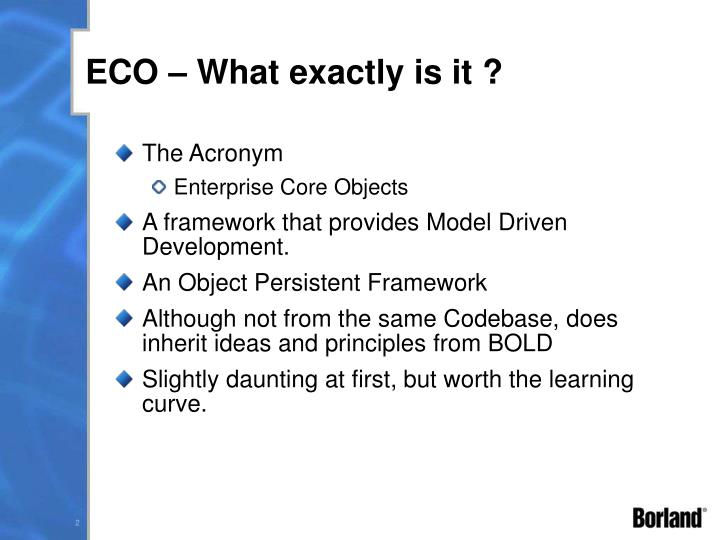 ECO – What exactly is it ?
