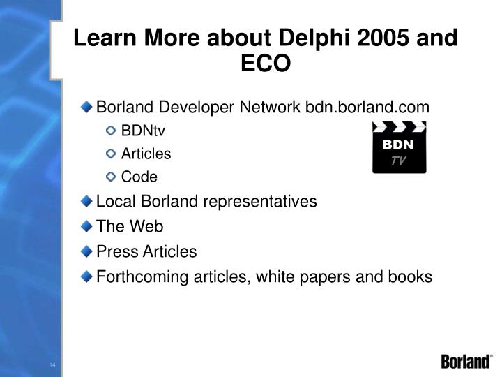 Learn More about Delphi 2005 and ECO