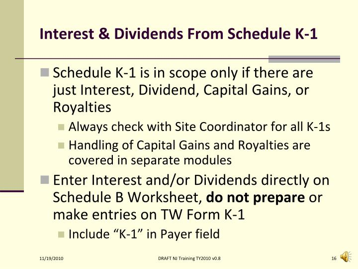 Interest & Dividends From Schedule K-1