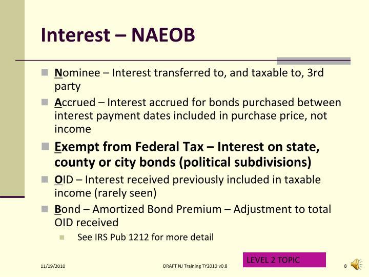 Interest – NAEOB