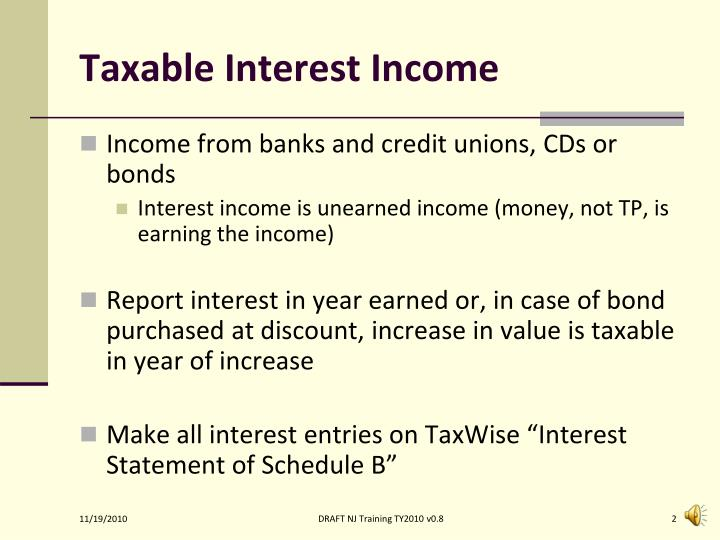Taxable Interest Income
