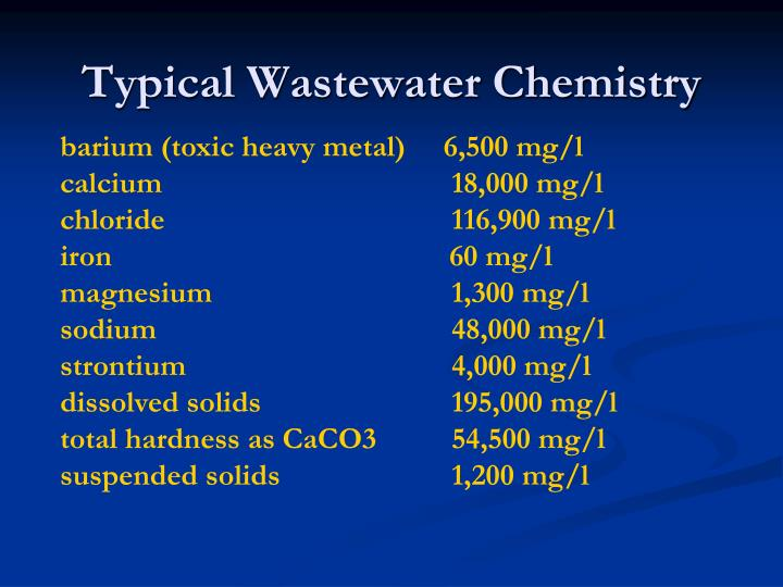 Typical wastewater chemistry