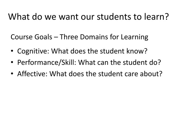 What do we want our students to learn?