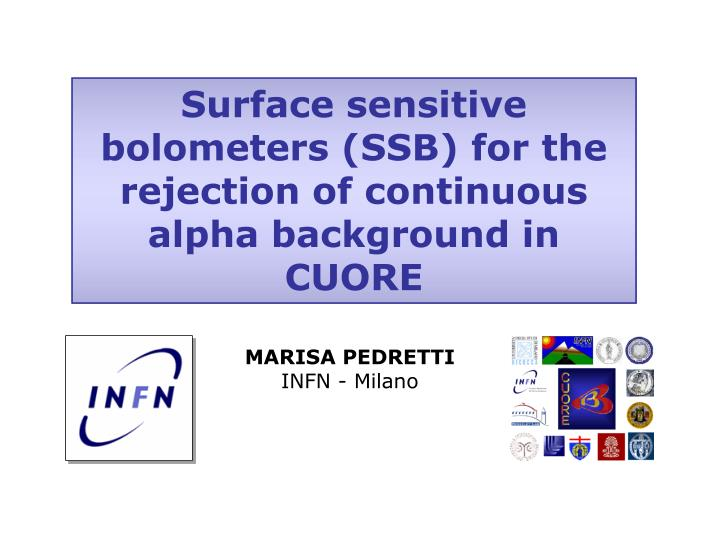 Surface sensitive bolometers (SSB) for the rejection of continuous alpha background in CUORE