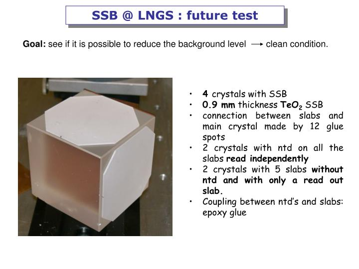 SSB @ LNGS : future test