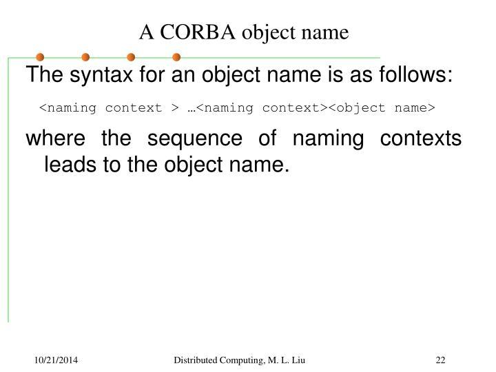 A CORBA object name