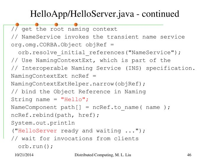 HelloApp/HelloServer.java - continued