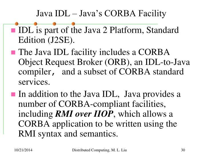 Java IDL – Java's CORBA Facility