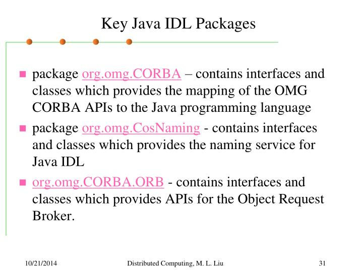 Key Java IDL Packages