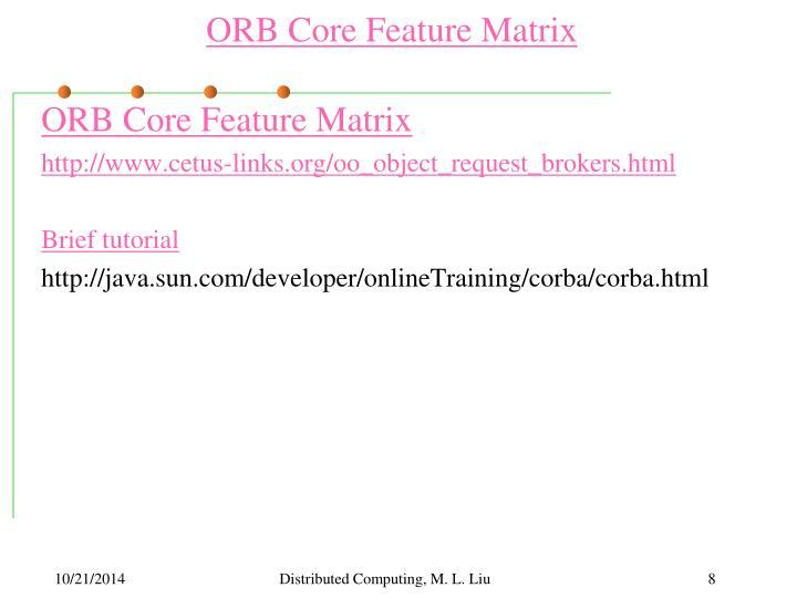 ORB Core Feature Matrix