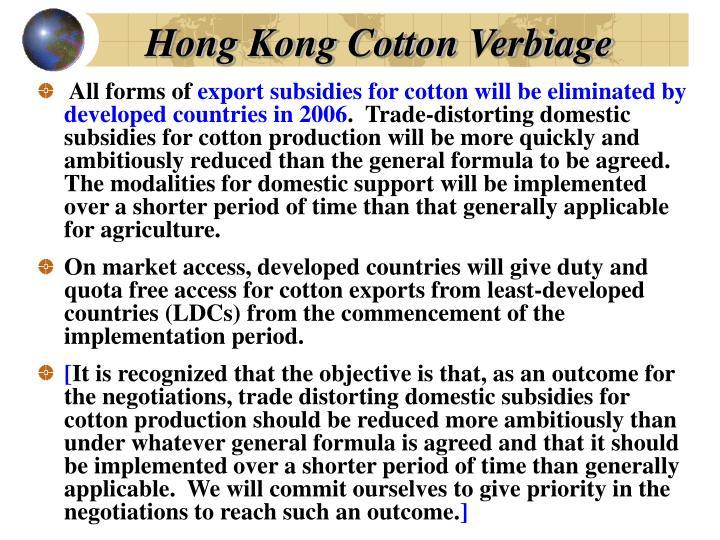 Hong Kong Cotton Verbiage