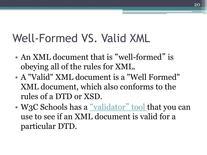 Well-Formed VS. Valid XML
