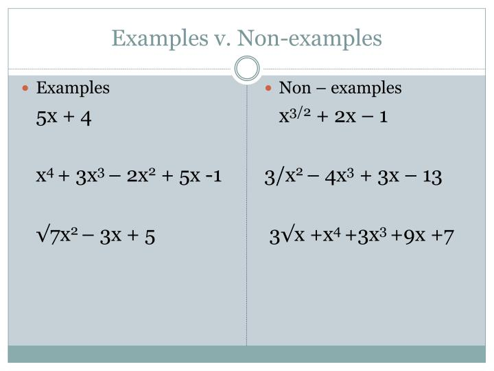 Examples v. Non-examples