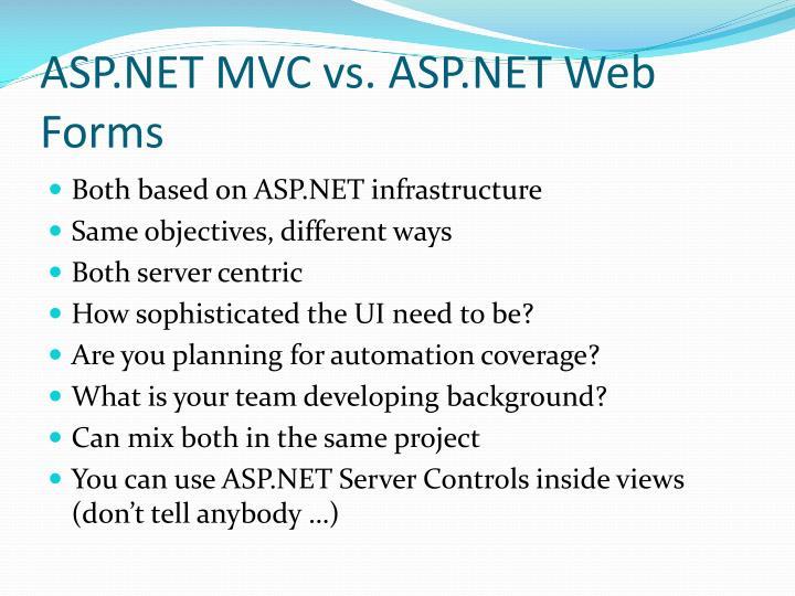 ASP.NET MVC vs. ASP.NET Web Forms