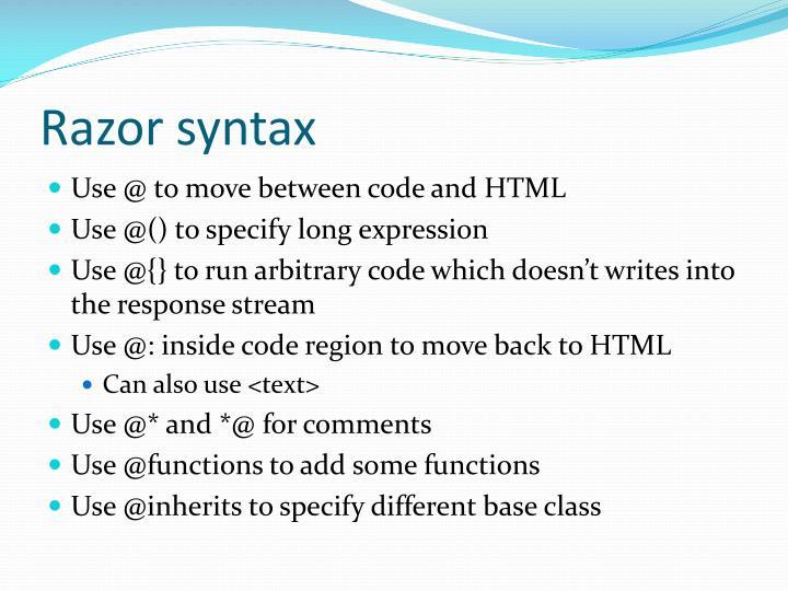 Razor syntax