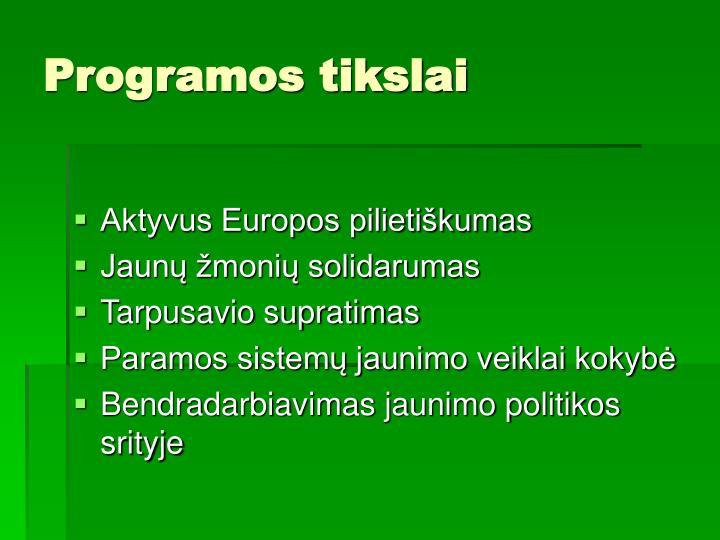 Programos tikslai