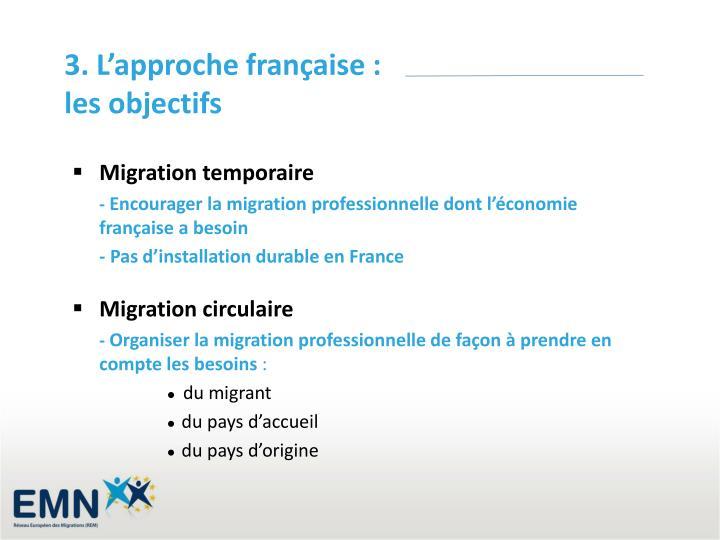 3. L'approche française : les objectifs