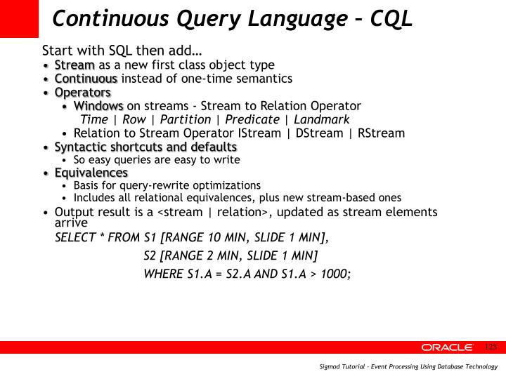Continuous Query Language – CQL