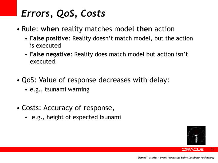 Errors, QoS, Costs