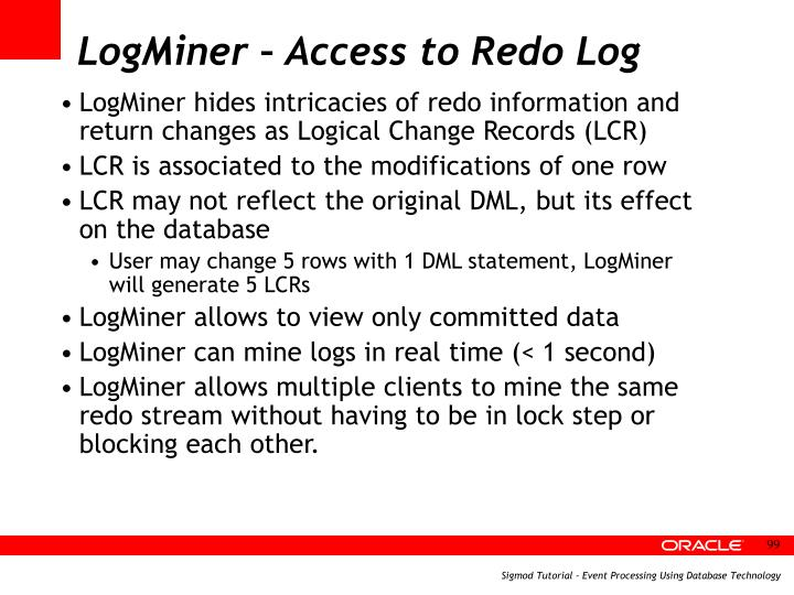 LogMiner – Access to Redo Log
