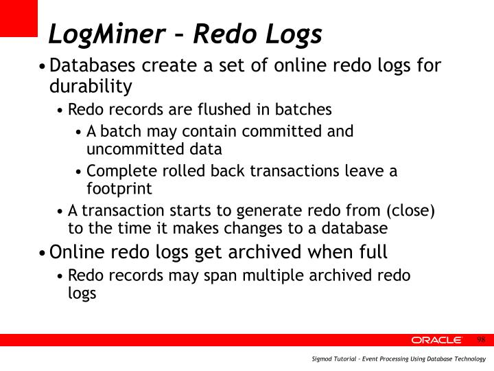 LogMiner – Redo Logs