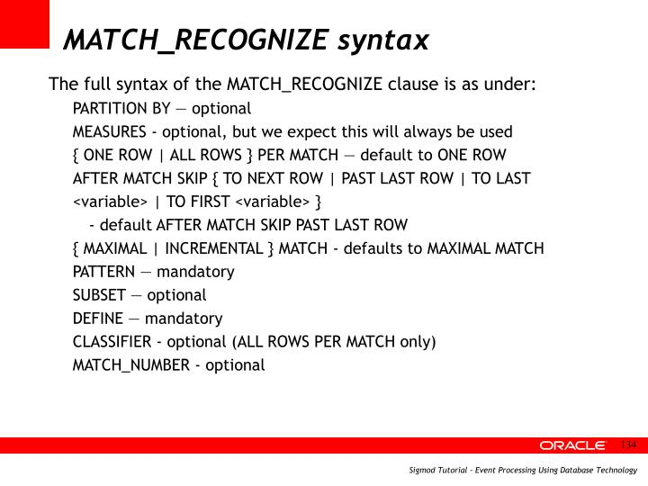 MATCH_RECOGNIZE syntax