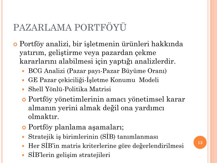 PAZARLAMA PORTFÖYÜ
