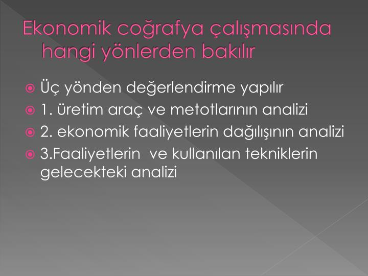 Ekonomik coğrafya çalışmasında hangi yönlerden bakılır