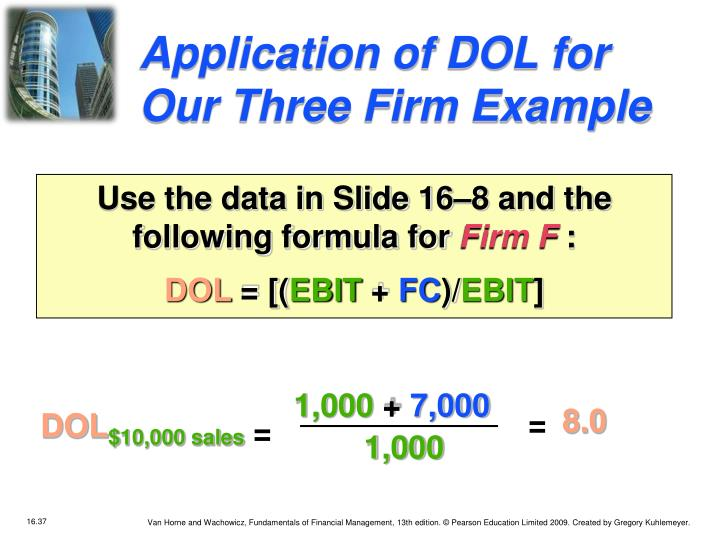 Application of DOL for Our Three Firm Example