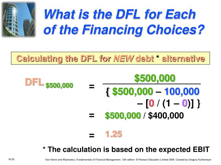 What is the DFL for Each of the Financing Choices?
