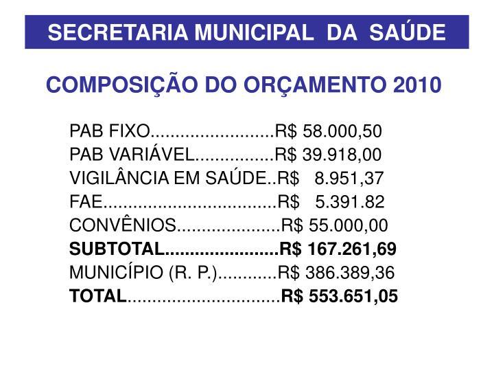 SECRETARIA MUNICIPAL  DA  SAÚDE
