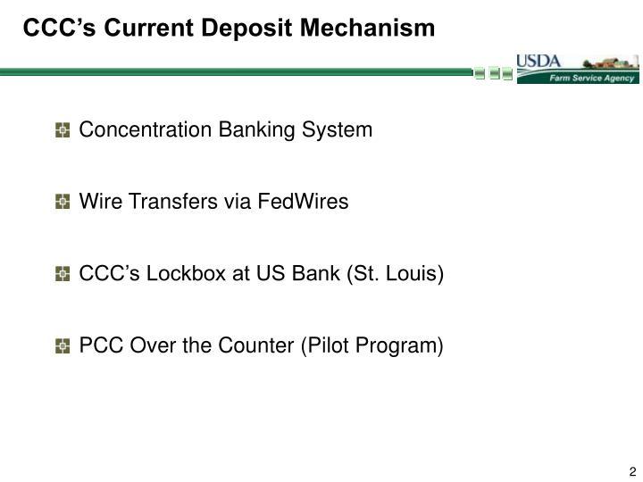 CCC's Current Deposit Mechanism
