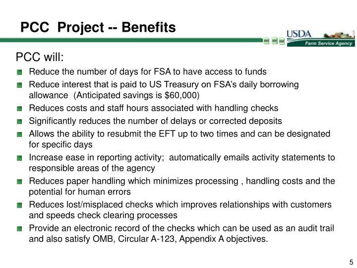 PCC  Project -- Benefits