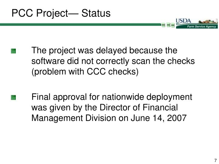 PCC Project— Status