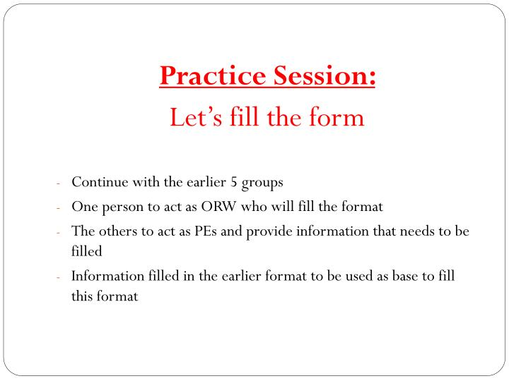 Practice Session: