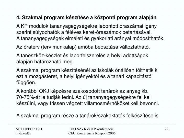 4. Szakmai program készítése a központi program alapján