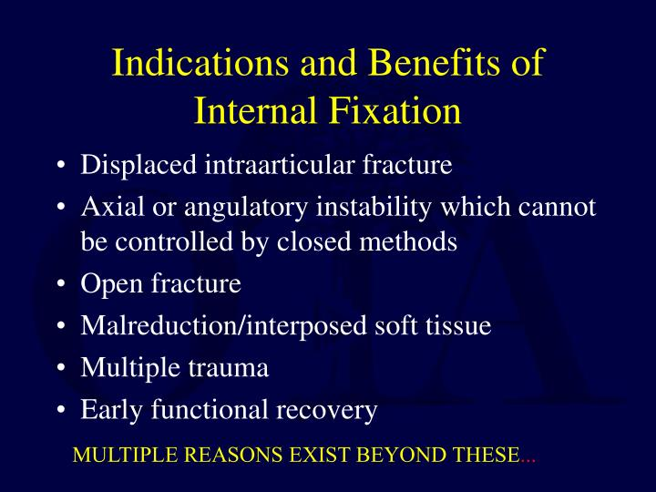 Indications and Benefits of Internal Fixation