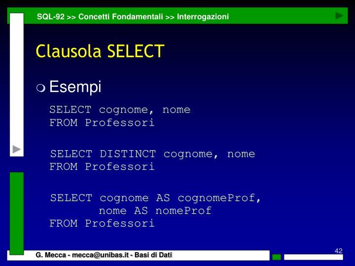 SQL-92 >> Concetti Fondamentali >> Interrogazioni