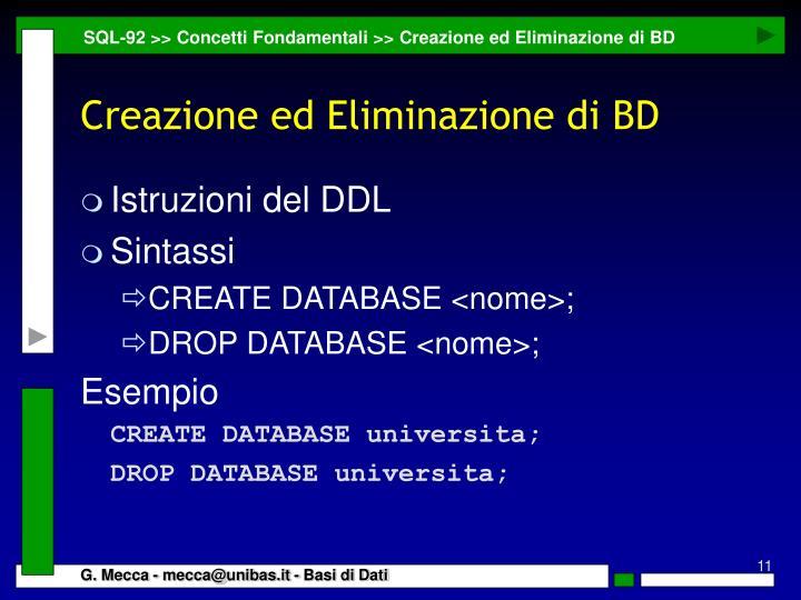 SQL-92 >> Concetti Fondamentali >> Creazione ed Eliminazione di BD