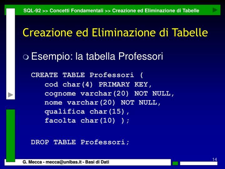 SQL-92 >> Concetti Fondamentali >> Creazione ed Eliminazione di Tabelle