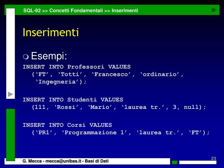 SQL-92 >> Concetti Fondamentali >> Inserimenti
