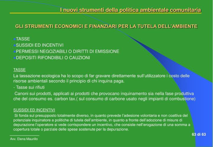 GLI STRUMENTI ECONOMICI E FINANZIARI PER LA TUTELA DELL'AMBIENTE
