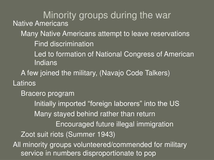 Minority groups during the war