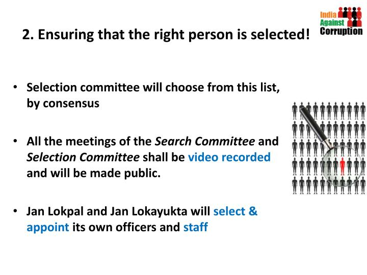 2. Ensuring that the right person is selected!